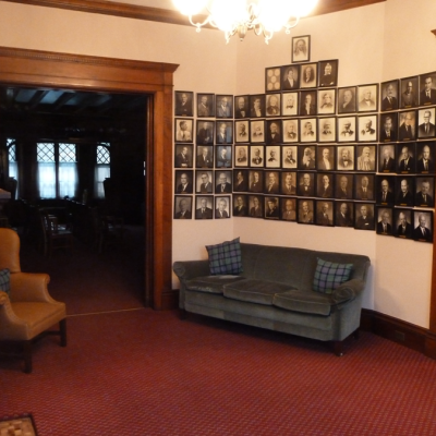 We enter through the front door of our building into an entrance hall that leads to the front parlor where one wall is devoted to pictures of the Past Presidents of the Society beginning in 1803.