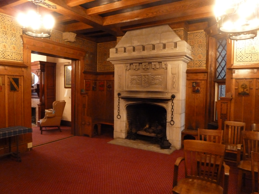 The meeting room is entered through the parlor.  The magnificent baronial fireplace warms the room on cold nights.