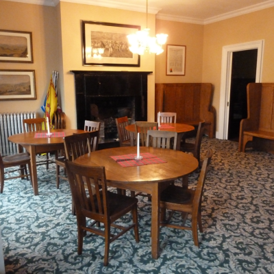 On the second floor, the Wee Kitchen, designed after Robert Burns cottage, greets the membership. The walls are decorated with paintings and other art work important to the history of Scotland and to our Society.
